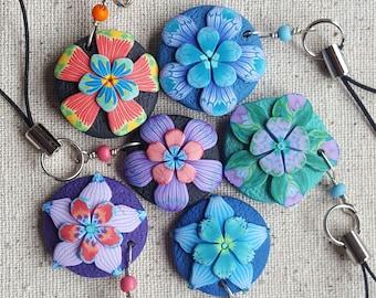 Group of 6 Scissor Minders, Bright Sizzor Fob, Flower Zipper Pull, Zipper Charm, Stocking Stuffer, Secret Santa, Sewing Circle Gift,