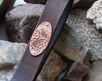 Copper Owl Leather Key Fob, Belt Loop Key Chain, Leather Key Holder, 3rd 7th Anniversary Gift, Gift for Him Her, Owl Keepsakes, Father Day