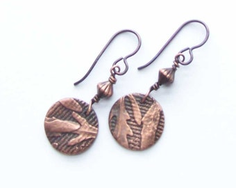 Copper Arugula Earrings, 7th Anniversary Gift for Her Wife, Copper Discs, Chef Foodie Gift, Gardener Jewelry, Culinary Grad