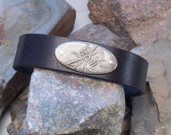 Leather Bee Bracelet, Gift for Him Her, 3rd Anniversary, Custom Honeybee Cuff, Fathers Day, Beekeeper Jewelry, Mom