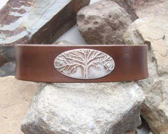 Tree Leather Bracelet, Gift for Him Her, 3rd Anniversary, Christian Accessory, Genealogist Gift, Mothers  Day, Grad Dad Mom, Family History