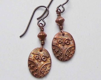 Owl Earrings, Copper Owl Dangles, Copper Jewelry, 7th Anniversary Gift for Her Wife, Owl Totem, Woodland Gift, Handmade Earrings, Wise Owl