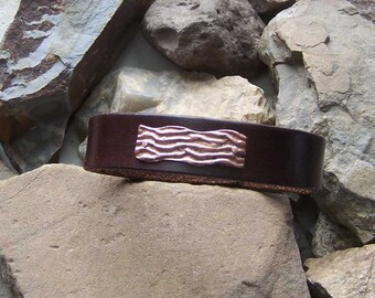 Bacon Bracelet, Custom Leather Cuff, Copper Bacon Strip, Gift for Him Her, 3rd 7th Anniversary, Gift For Dad Grad, Chef Culinary School Grad