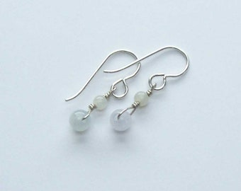 White Jade Earrings, Jade Silver Dangles, Silver Jewelry, Simple Dangles, Gift for Her Wife Mother, Good Luck Meditation Earrings