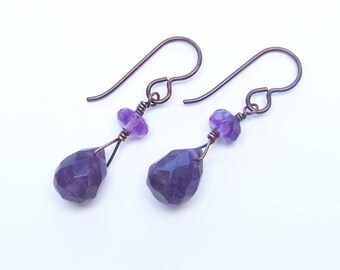 Amethyst Copper Earrings, Birthstone Jewelry, February Birthday, Short Dangles, For Her Wife, 6th Anniversary