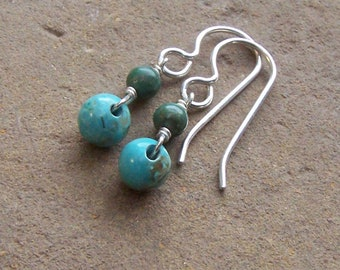 Turquoise Earrings, Dainty Turquoise Silver Jewelry, Simple Drops, December Birthstone, Classic Jewelry, Under 30 40 50