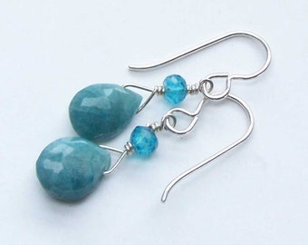 Delicate Stone Earrings, Blue Aqua, Dangly Earrings, Minimalist Dangles, For Her Wife BFF, Mothers Day