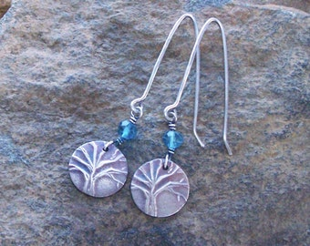 Tree of Life Earrings, Tiny Earrings, Silver Tree Earrings, Blue Apatite Earrings, Small Dangle Trees, Gift for Her Wife, PMC dangle, Unique