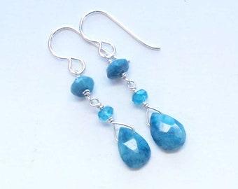 Long Stone Earrings, Blue Aqua, Dangly Earrings, Statement Earrings, Elegant Dangles, For Her Wife, Mothers Day
