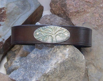 Tree of Life Leather Bracelet, Gift for Him Her, 3rd Anniversary, Inspirational Accessory, Family Tree Cuff, Mothers  Day, Grad Dad Mom Gift