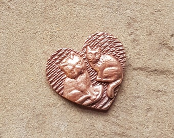 Copper Heart with Cats, Pocket Charm Faux Coin, Seventh Copper Anniversary Gift, Golf Ball Marker, Cat Keepsake GIft