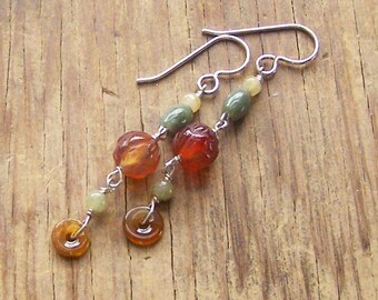Jade Carnelian Earrings, Long Dangles, Statement Gift for Her Wife, Mother's Day, Protection Jewelry