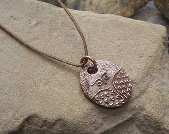 Copper Owl Necklace, Oval Bird Adjustable Pendant, For Him Her, 7th Copper Anniversary Gift