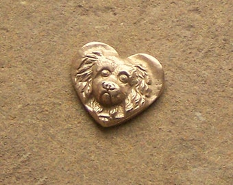 Bronze Heart Coin with Spaniel Dog,  Golf Ball Marker,Pocket Token, Long Distance Relationship, 8th Bronze Anniversary, For Him Her