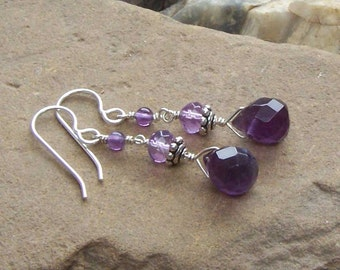 Amethyst Earrings, Long Dangly Stone Silver, Birthstone Jewelry, February Birthday,  Protection Stone