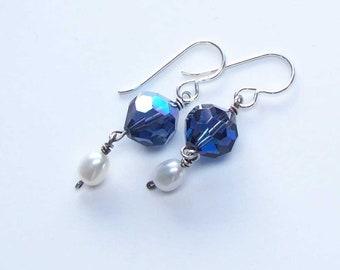 Crystal Pearl Earrings, Long Dangle Statement Earrings, Gift for Her Wife, Freshwater Pearl, Vintage Swarovski Crystal