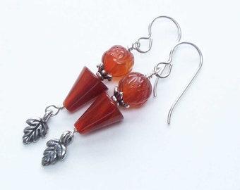 Orange Carnelian Earrings, Sterling Beaded Jewelry, Dangly Carnelian, Red Orange Jewelry, Gift for Her Wife, Protection Stone