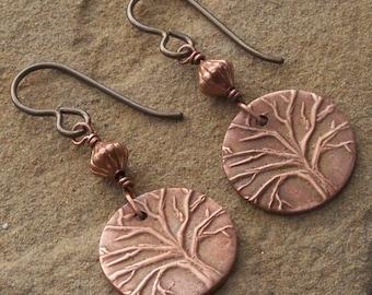Copper Tree of Life Earrings, Copper Tree Earrings, 7th Anniversary Gift for Her, Christian Dangles, Inspiration Gift