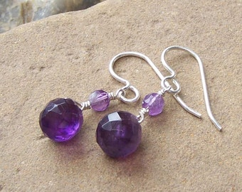 Amethyst Silver Earrings, February Birthstone Jewelry, For Her Wife Daughter, Purple Stone