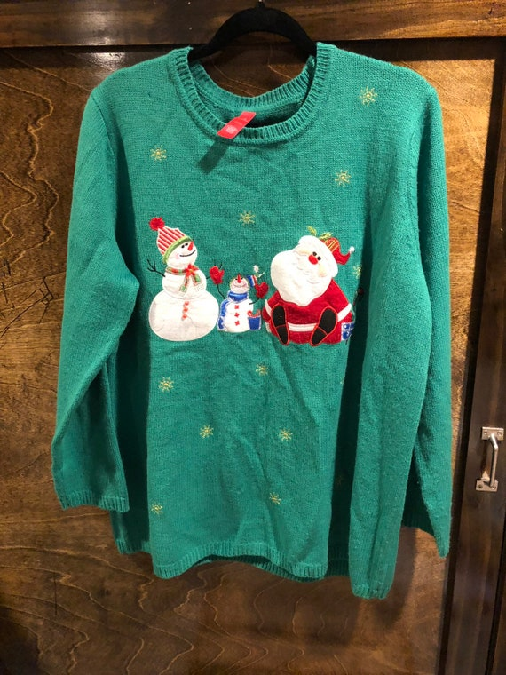 3x Ugly Christmas Sweater.Womens Ugly Christmas Sweater Green 3x
