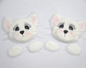 White Cat Kitten Peekers TEAR BEARS Scrapbook Page Paper Piecings Card