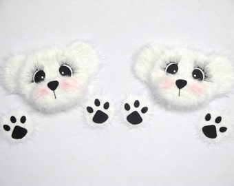 White Polar Bear Peekers TEAR BEARS Scrapbook Page Paper Piecings Card