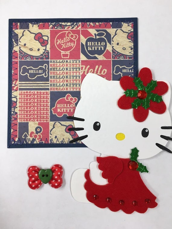 Hello Kitty Christmas.Hello Kitty Christmas Paper Piecing Mat Set Scrapbook Page Layout Handmade Card