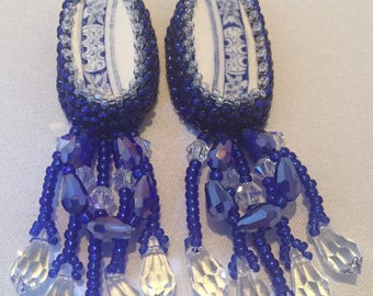 Blue Oval china earrings with Swarovski Crystals