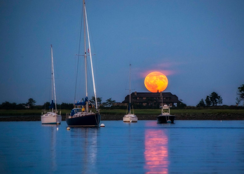Harvest Moon   Tod's Point Greenwich CT   Fine Art image 0
