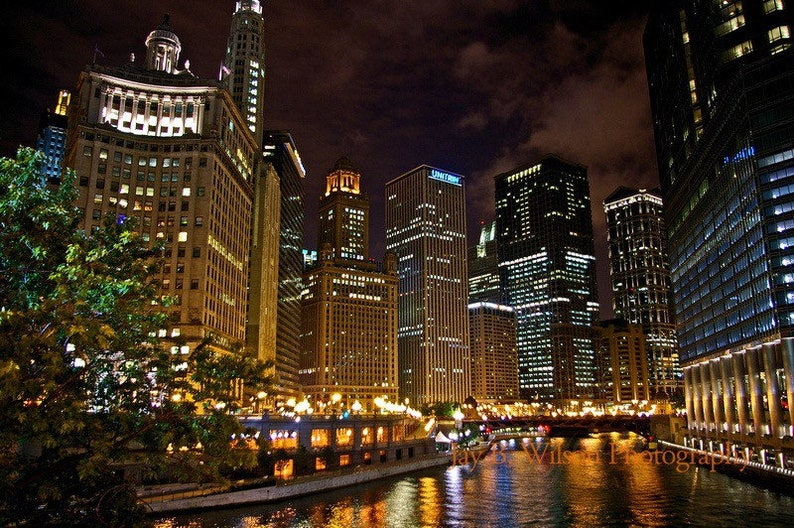 Chicago River at Night  Fine Art Photograph Print image 0