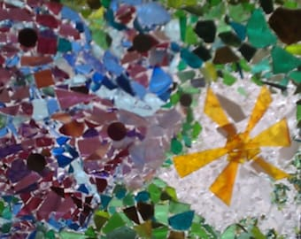 Abstract Butterfly Mosaic Glass Window Panel, Mosaic Glass Art Panel, Mosaic Art Glass, Mosaic Glass, Mosaic Panel, Glass on Glass Mosaic