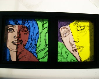 Airbrushed portraits on fused glass, Airbrush glass, fused glass wall art, fused glass art, airbrush fused glass, Glass Art,