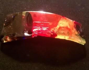 Multi color fused glass barrette, fused glass colorful barette, fused glass hair accessory, fused glass fashion, wearable glass art