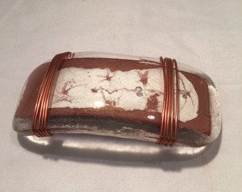 Copper and white color glass barette, fused glass wire wrap barette, fused glass hair accessories