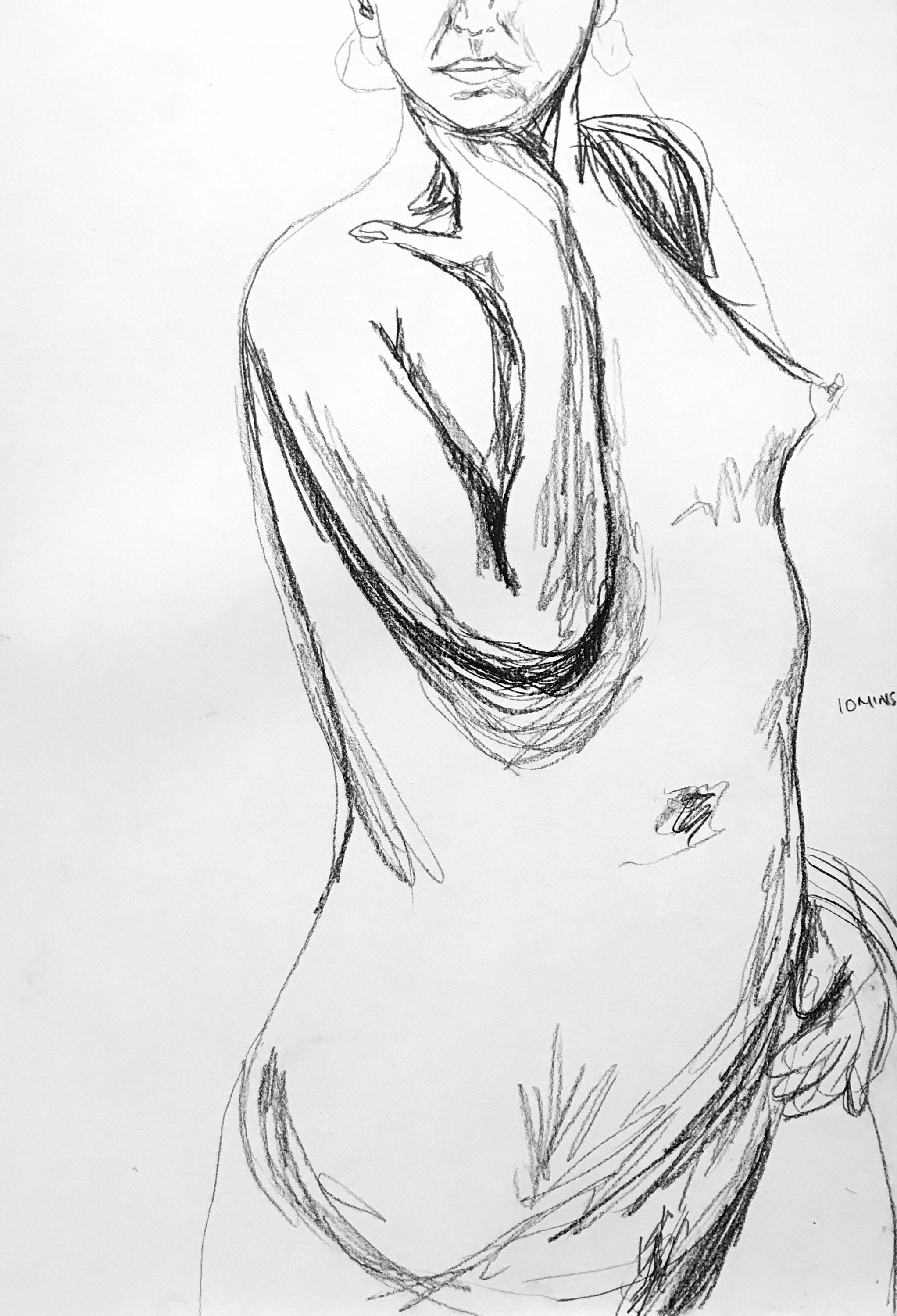 Nude sketch of female figure in black and white charcoal nude artwork for feminine bedroom decor original line drawing of woman nude