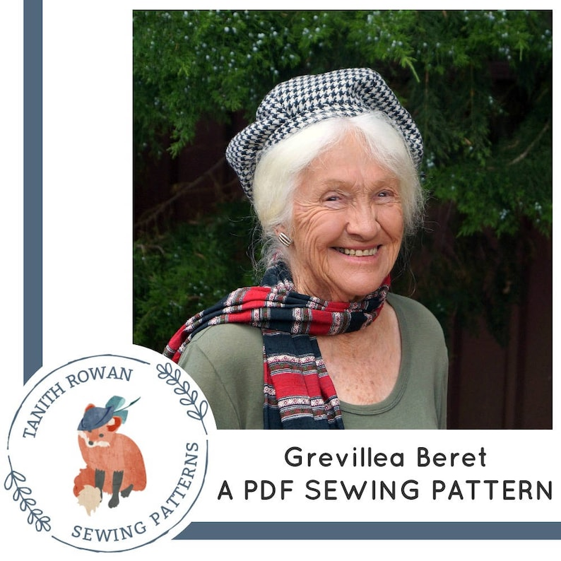 Grevillea Beret Pattern  pdf sewing pattern for a sectioned image 0