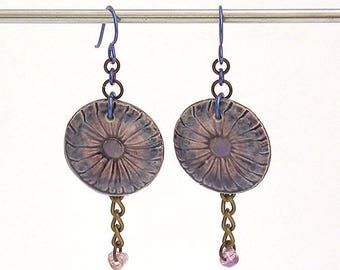 Handmade Artisan Earrings - Blue and Purple Ceramic Daisy Components with Hypo Allergenic Niobium Earwires. SRA Art Beads by Emma Ralph SRA