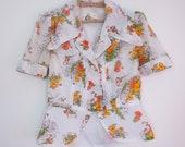 70s vintage white cotton blouse with flower motif