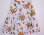 70s vintage white cotton skirt with flower motif