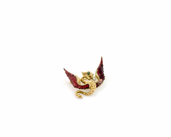 Vintage Antique 14k Gold Griffin Dragon Brooch | A
