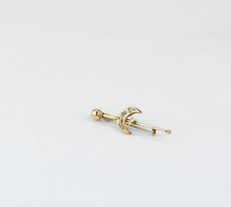 Antique Victorian Brooch Gold Crescent Moon Antique Pin