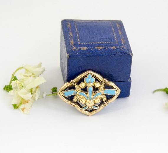 Vintage Antique 14k Gold Brooch Turquoise Blue Ena