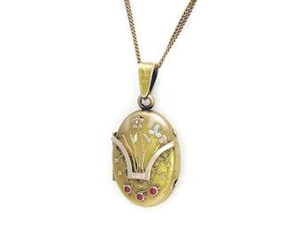 Vintage Antique Locket Victorian Locket Aesthetic Period with Tri Gold Flowers and Red Stones