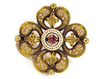 Vintage Antique Victorian Brooch with Enamel in 10k Gold, Antique Watch Pin, Love Knot Motif