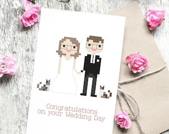 Custom Illustrated Wedding Card in Pixel Art Style (Digital File)