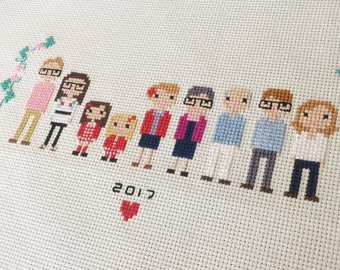 Extra Large Custom Cross Stitch Family Portrait in Pixel Art Style (Unframed)