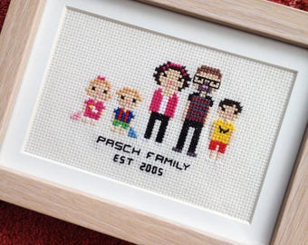 Custom Cross Stitch Family Portrait in Pixel Art Style (Framed)