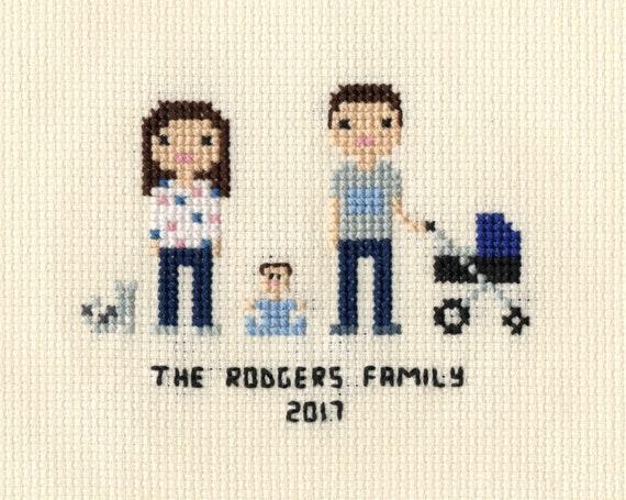 New Baby Cross Stitch Family Portrait In Pixel Art Style Etsy