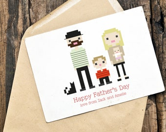 Custom Illustrated Father's Day Card in Pixel Art Style (Digital File)