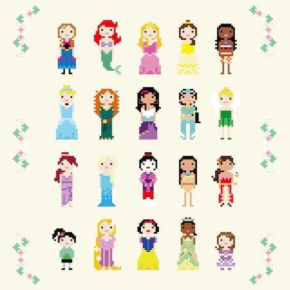 UPDATED 2018 Disney Princess Cross Stitch Pixel Sampler | Etsy